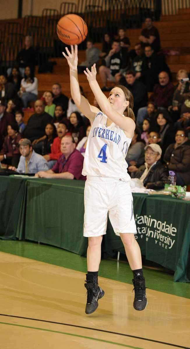 Riverhead guard Marta Czaplak attempts a three-point shot
