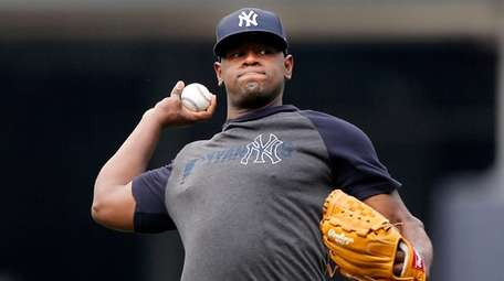 Luis Severino works out at Yankee Stadium on
