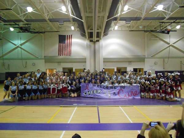 Cheerleading teams from Center Moriches, Hampton Bays, Southold,