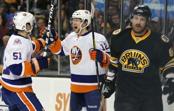 New York Islanders' Josh Bailey (12) celebrates his
