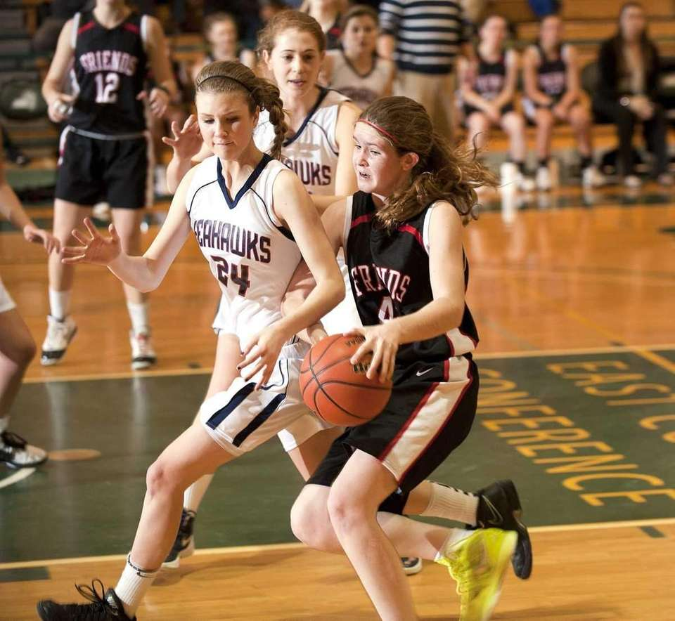 Cold Spring Harbor's #24 Katie Durand, left, guards