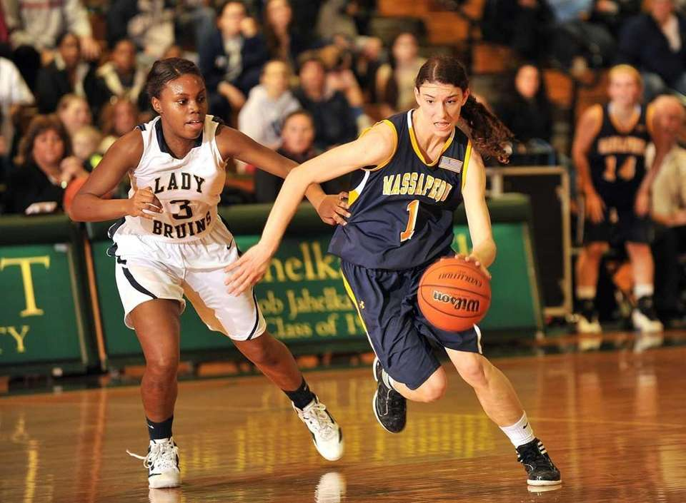 Massapequa's #1 Morgan Roessler, left, attempts to drive
