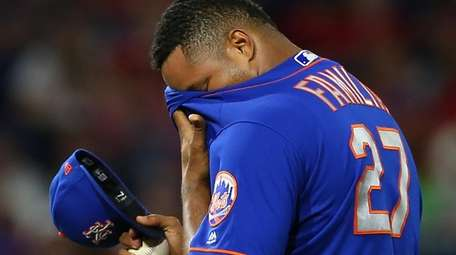 Jeurys Familia of the Mets reacts after