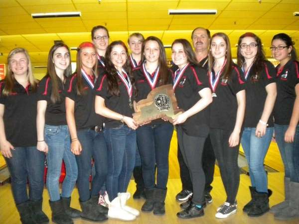 The East Islip girls bowling team poses with