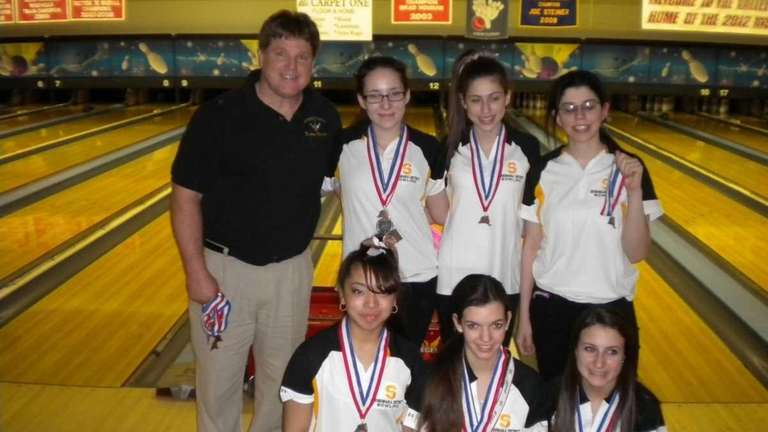 The Sewanhaka District girls bowling team poses with