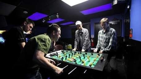 A group of foosball competitors meets every Sunday
