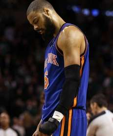 Tyson Chandler of the New York Knicks reacts