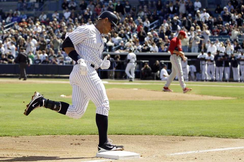 New York Yankees' Alex Rodriguez rounds the bases