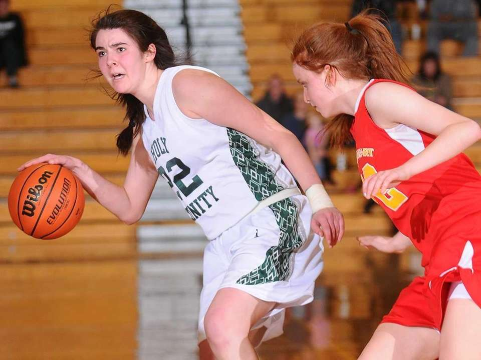 Holy Trinity High School #22 Alyson Brennan, left,