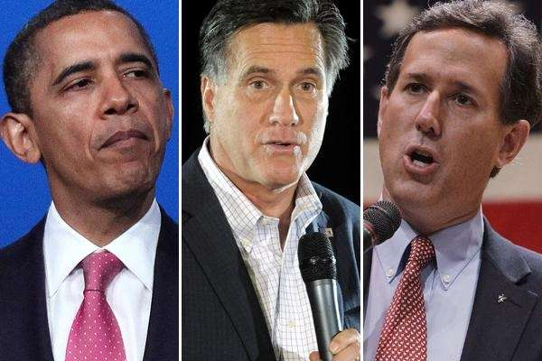 Barack Obama, Mitt Romney and Rick Santorum in