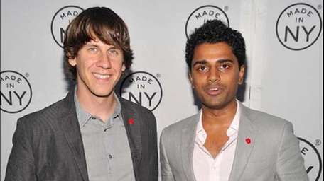 Developers of Foursquare, Dennis Crowley (L) and Naveen