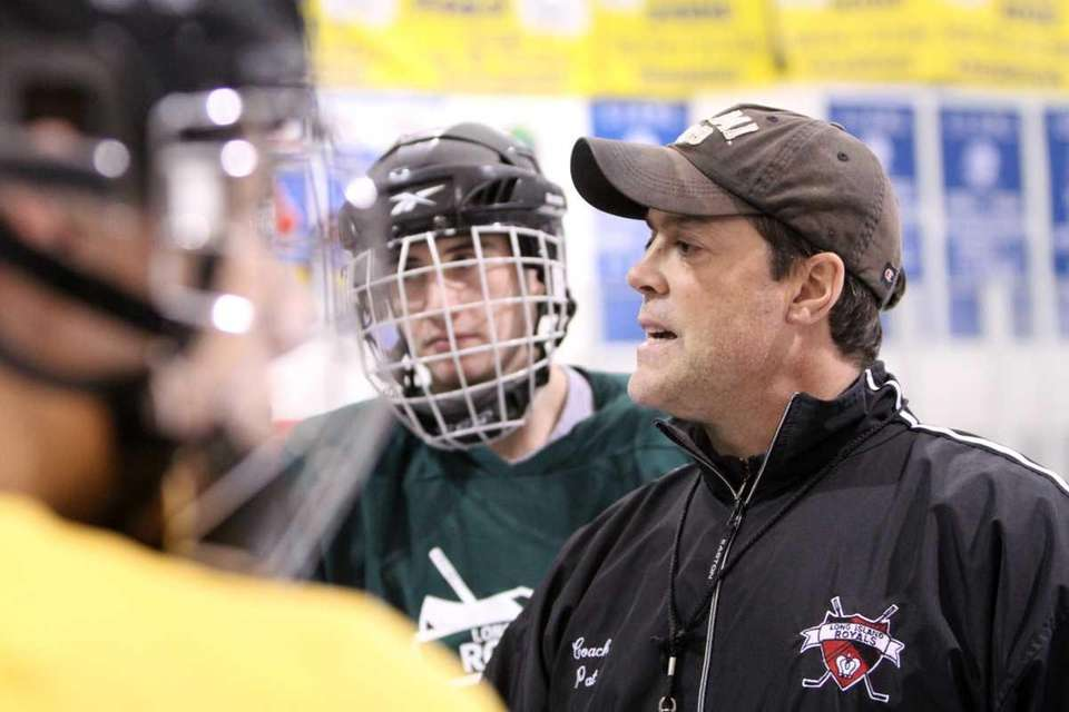 Long Island Royals coach Pat LaFontaine addresses his