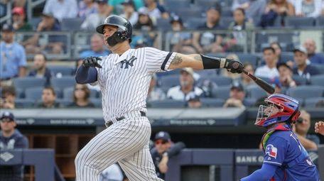 Yankees catcher Gary Sanchez #24 hits a double
