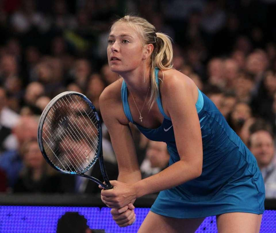 Maria Sharapova in action against Caroline Wozniacki. (March