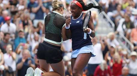Coco Gauff, right, and her partner Catherine McNally