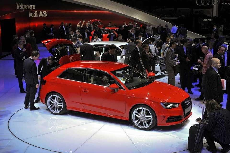 An Audi A3 is displayed as it makes