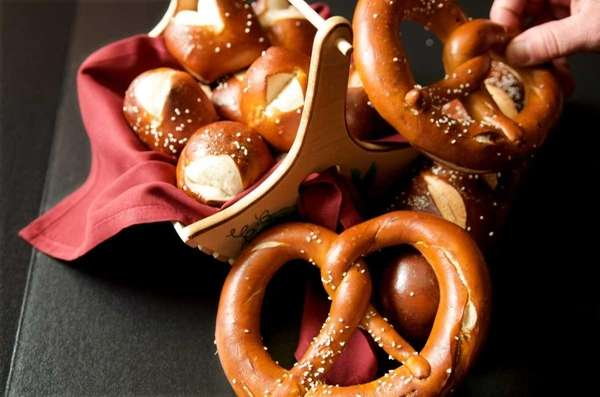 A home-made Bavarian pretzel from the Village Lanterne