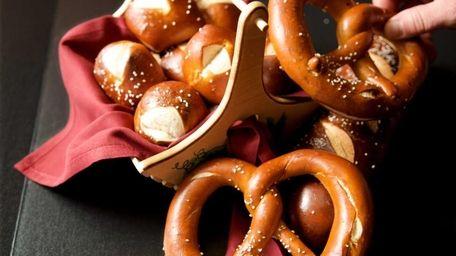A home-made Bavarian pretzel from the Village Lanterne