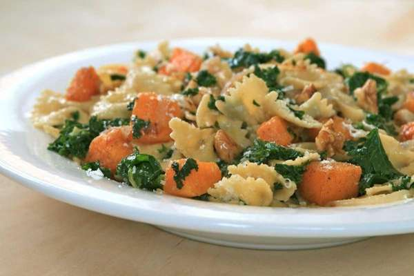 Farfalle with spiced and roasted butternut squash, kale