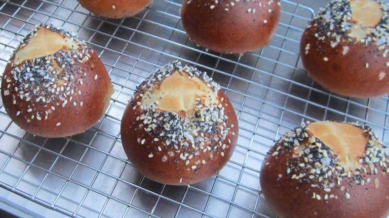 Give pretzel rolls a shiny, dark brown crust