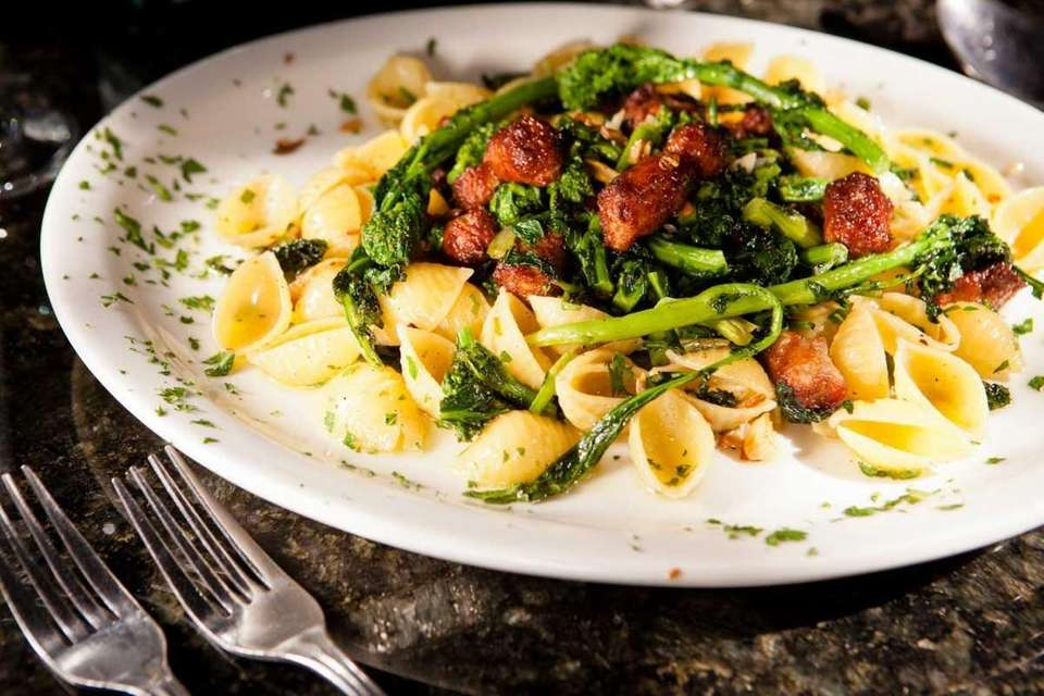 Small shells with broccoli rabe and sausage is