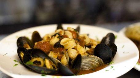 Frutti di Mare, a plate of calamari, clams