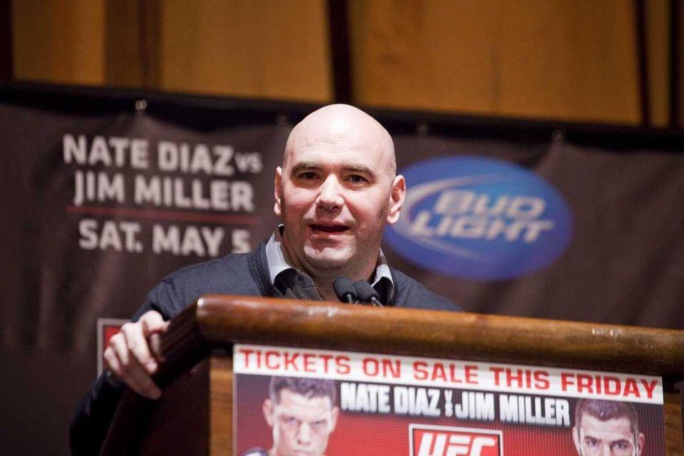 UFC president Dana White speaks at a press