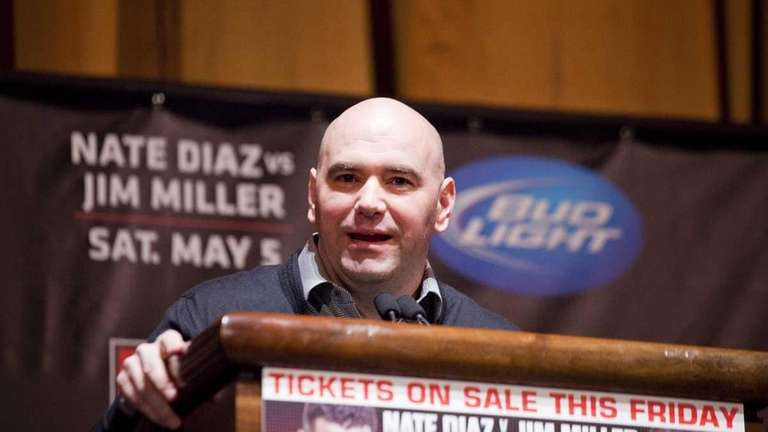UFC president Dana White speaks at a press
