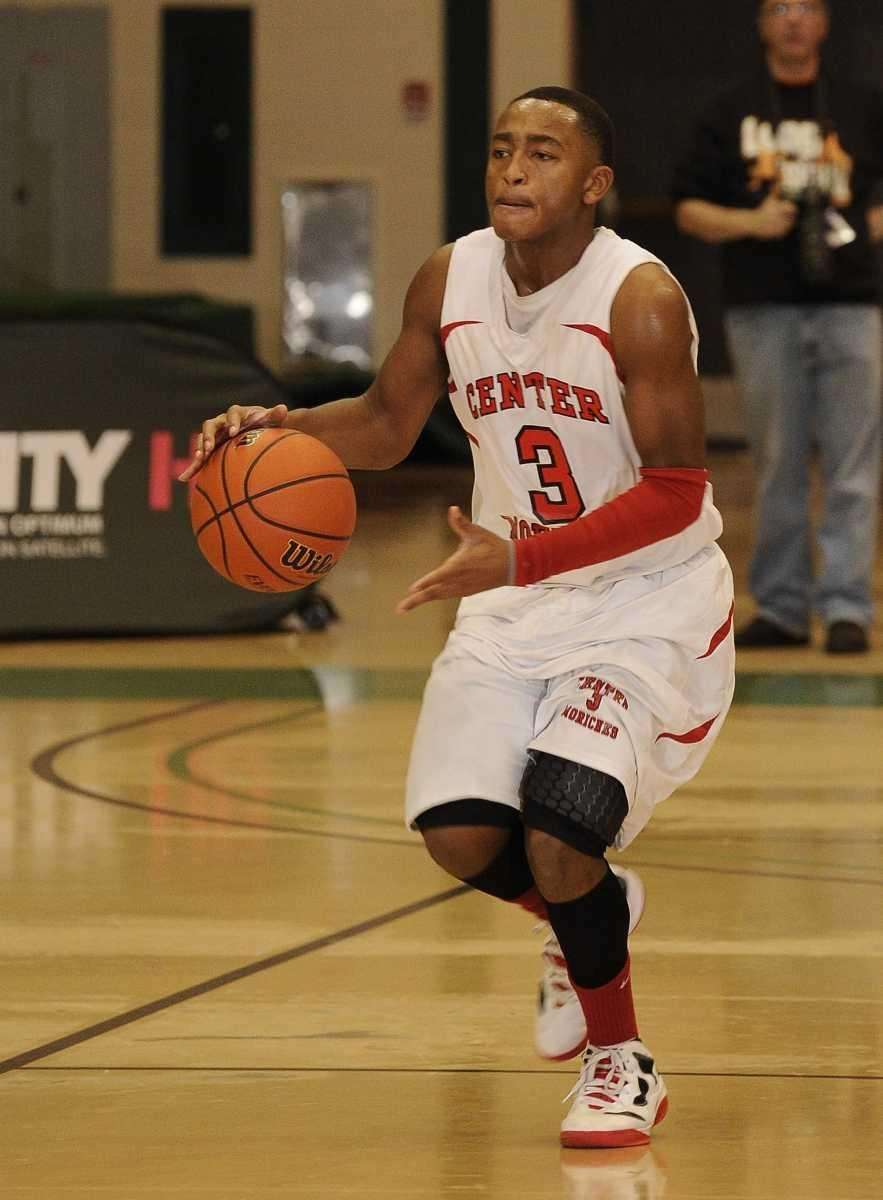 Center Moriches' Tyrell Thomas controls the ball against