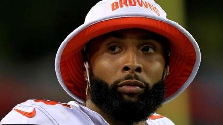 Odell Beckham of the Cleveland Browns looks on