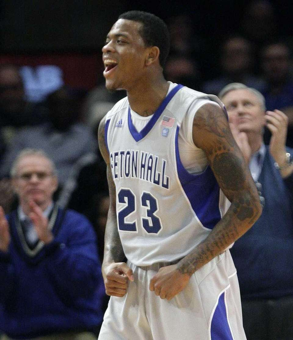 Seton Hall's Fuquan Edwin (23) reacts after scoring
