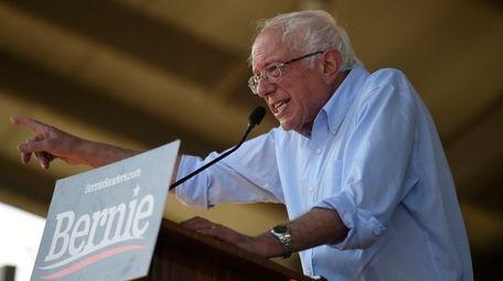 Democratic presidential contender Bernie Sanders addresses a Medicare