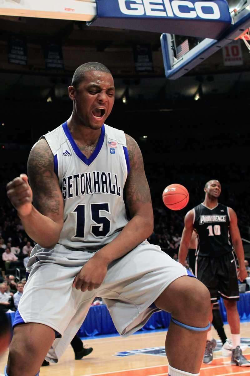 Herb Pope of the Seton Hall Pirates reacts