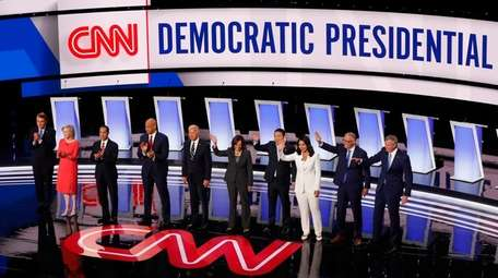 Candidates address the audience during the second of