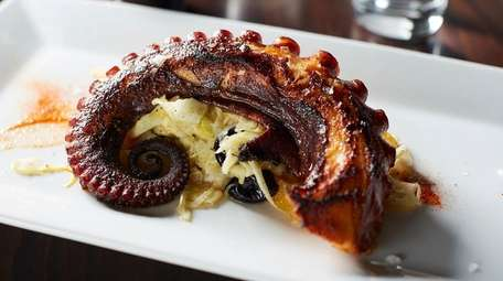 """Grilled octopus """"a la plancha"""" atop shaved fennel,"""