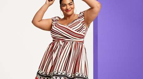 Anna Sui for Target plus size striped off-the-shoulder