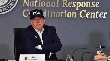 President Donald Trump on Sunday at FEMA's National