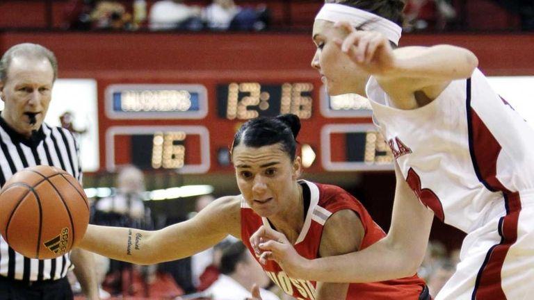 Ohio State's Samantha Prahalis drives past Nebraska's Emily