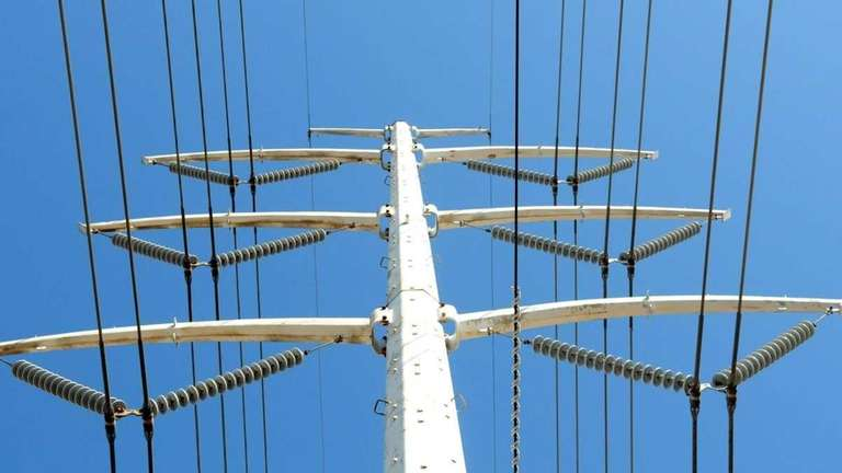 LIPA electrical poles and wires along Yaphank Avenue