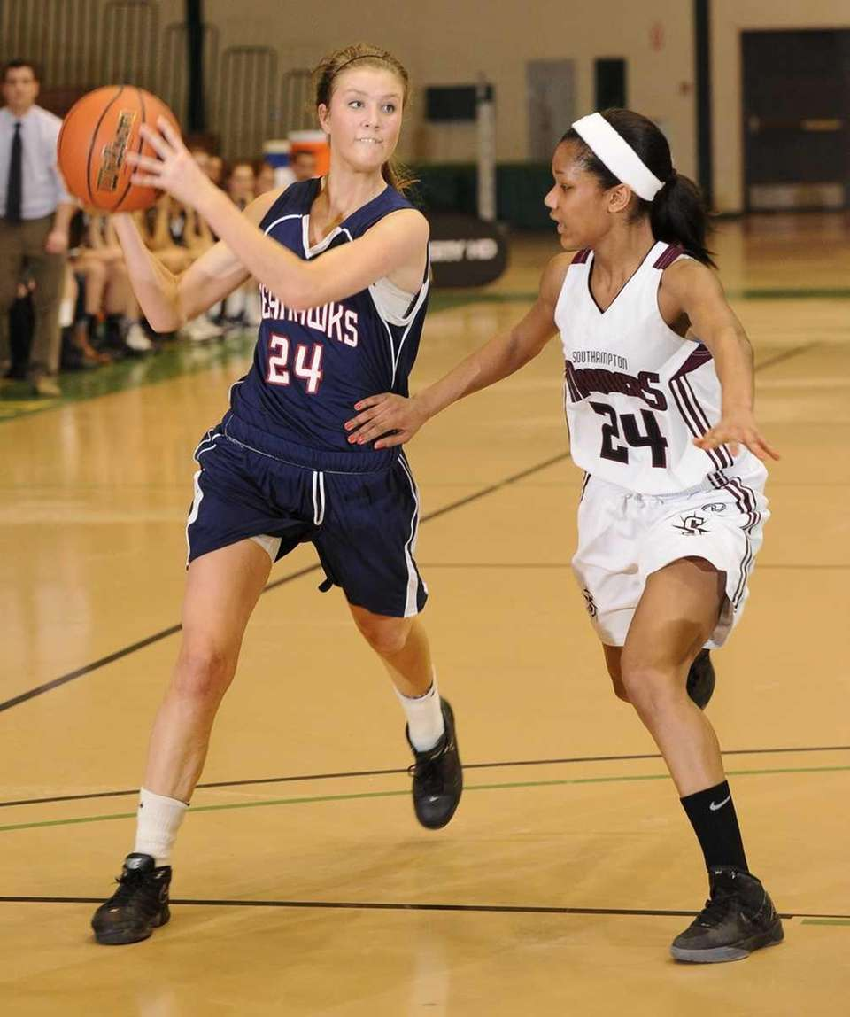 Cold Spring Harbor guard Katie Durand looks to