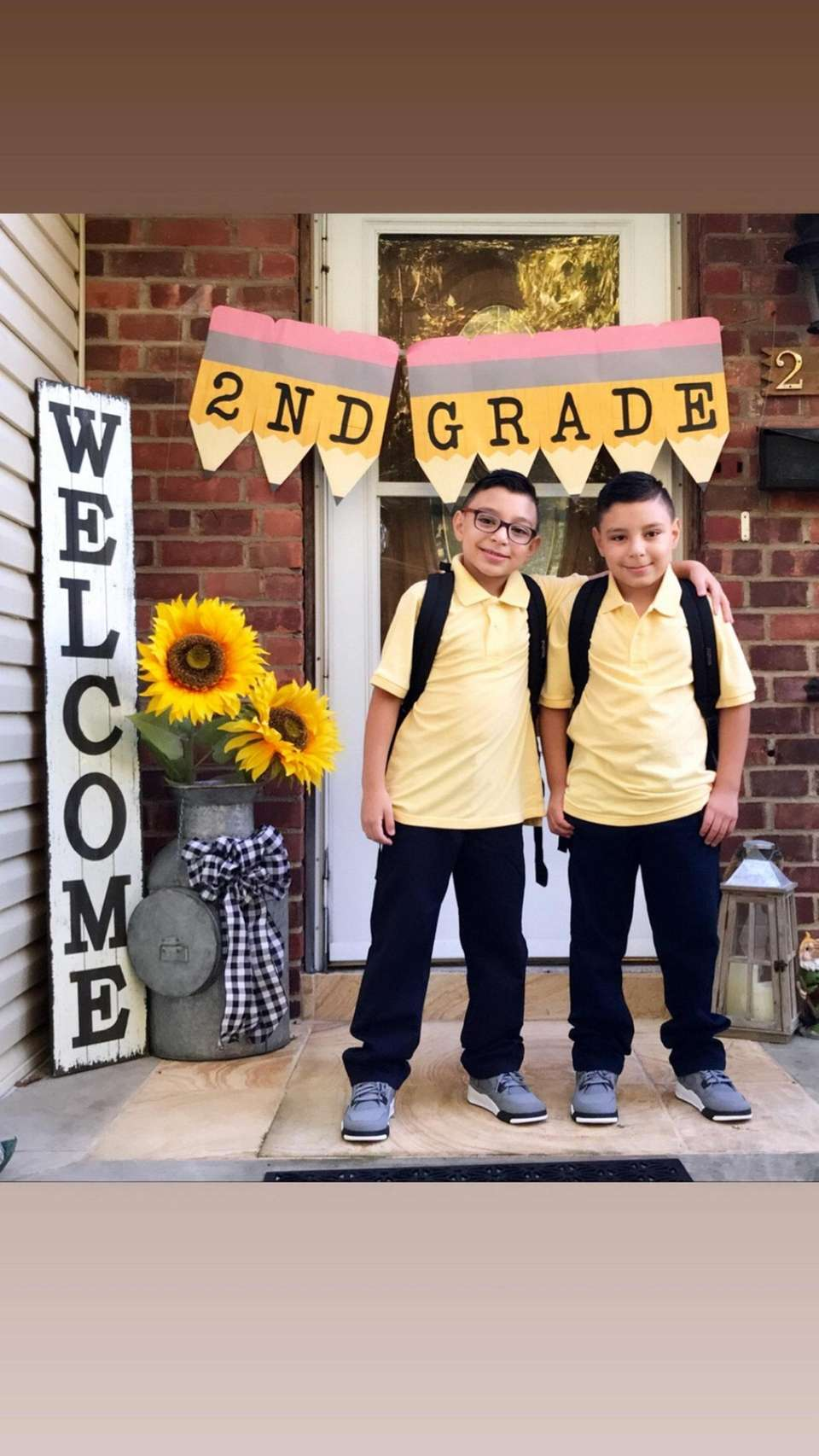 First day of 2nd grade for the twins.