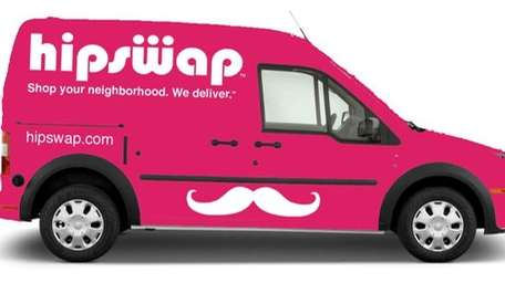 The HipSwap delivery van is delivering in Los