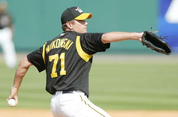 C.J. Nitkowski of the Pittsburgh Pirates pitches in
