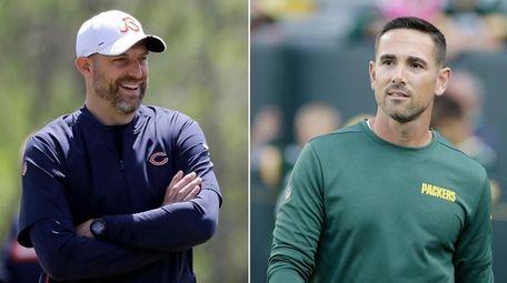 Bears head coach Matt Nagy, left, smiles during