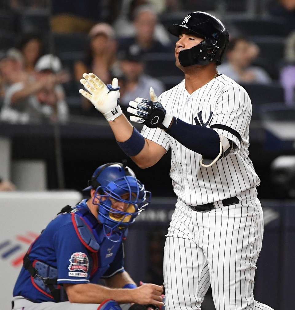 New York Yankees' Gleyber Torres reacts after he