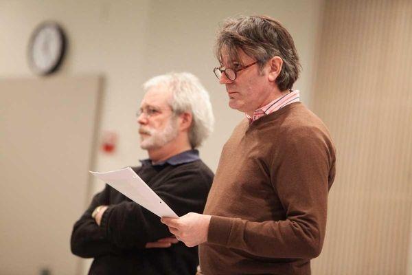 """Director Bartlett Sher and John Weidman during rehearsal for """"Shinsai ..."""