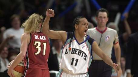 Teresa Weatherspoon of the Liberty reacts during Game