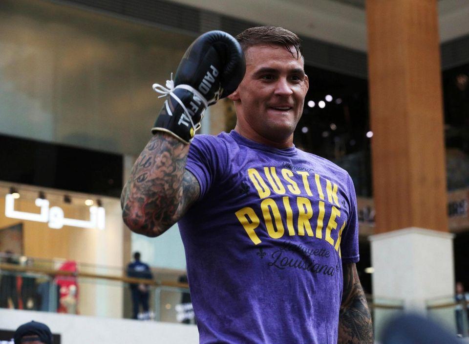 UFC fighter Dustin Poirier of Lafayette, Louisiana, gestures