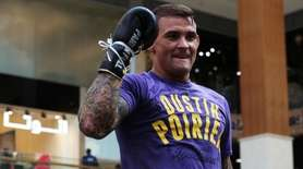 UFC fighter Dustin Poirier of Lafayette, Louisiana, gestures