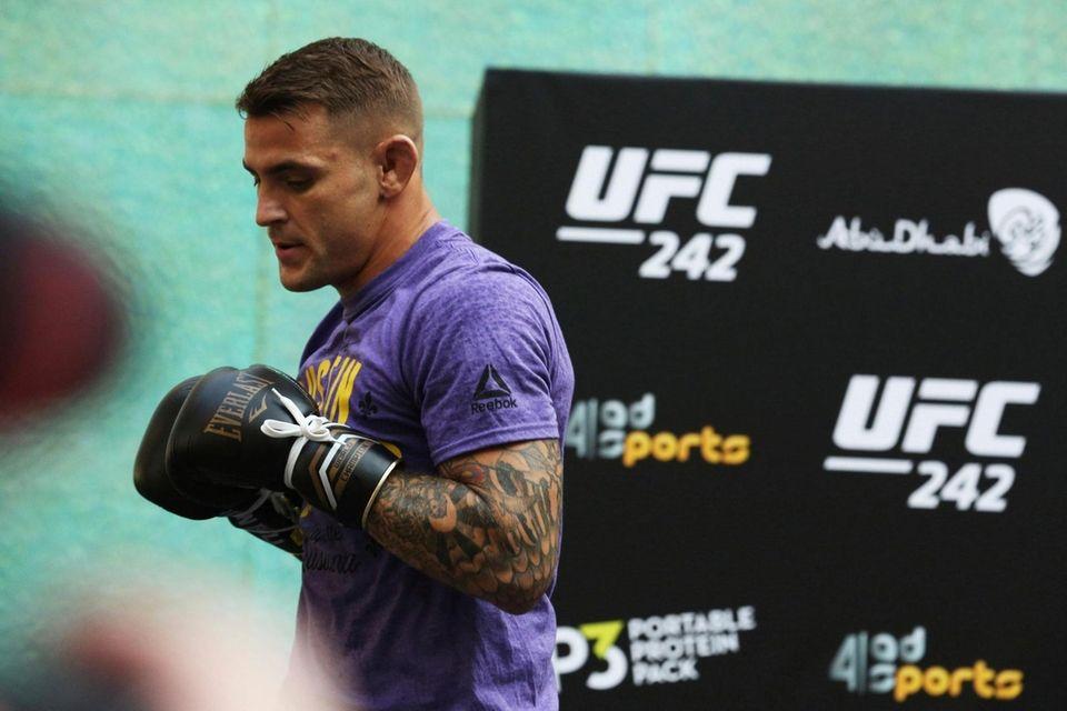 UFC fighter Dustin Poirier of Lafayette, Louisiana, spars